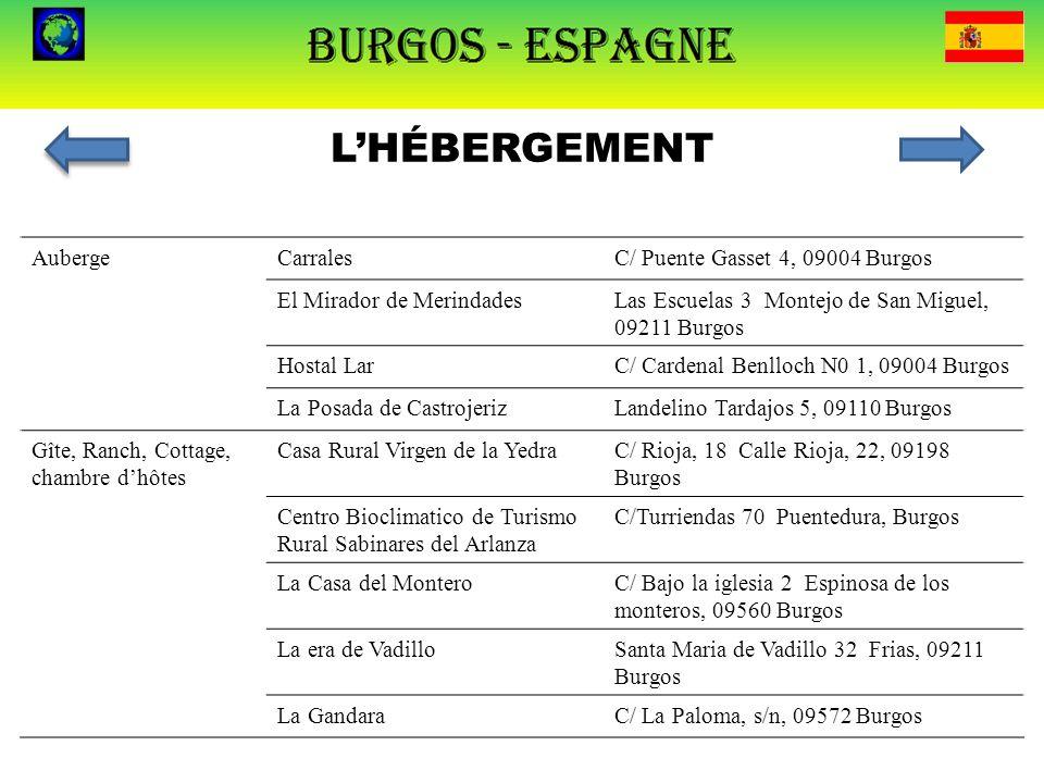L'HÉBERGEMENT AubergeCarralesC/ Puente Gasset 4, 09004 Burgos El Mirador de MerindadesLas Escuelas 3 Montejo de San Miguel, 09211 Burgos Hostal LarC/