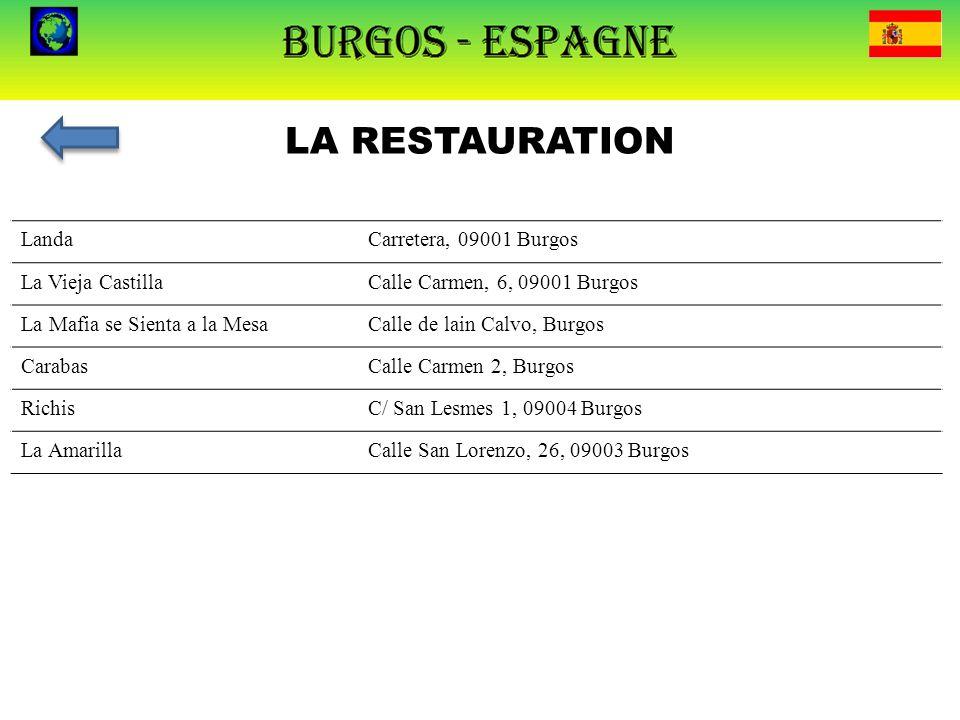 LA RESTAURATION LandaCarretera, 09001 Burgos La Vieja CastillaCalle Carmen, 6, 09001 Burgos La Mafia se Sienta a la MesaCalle de lain Calvo, Burgos Ca