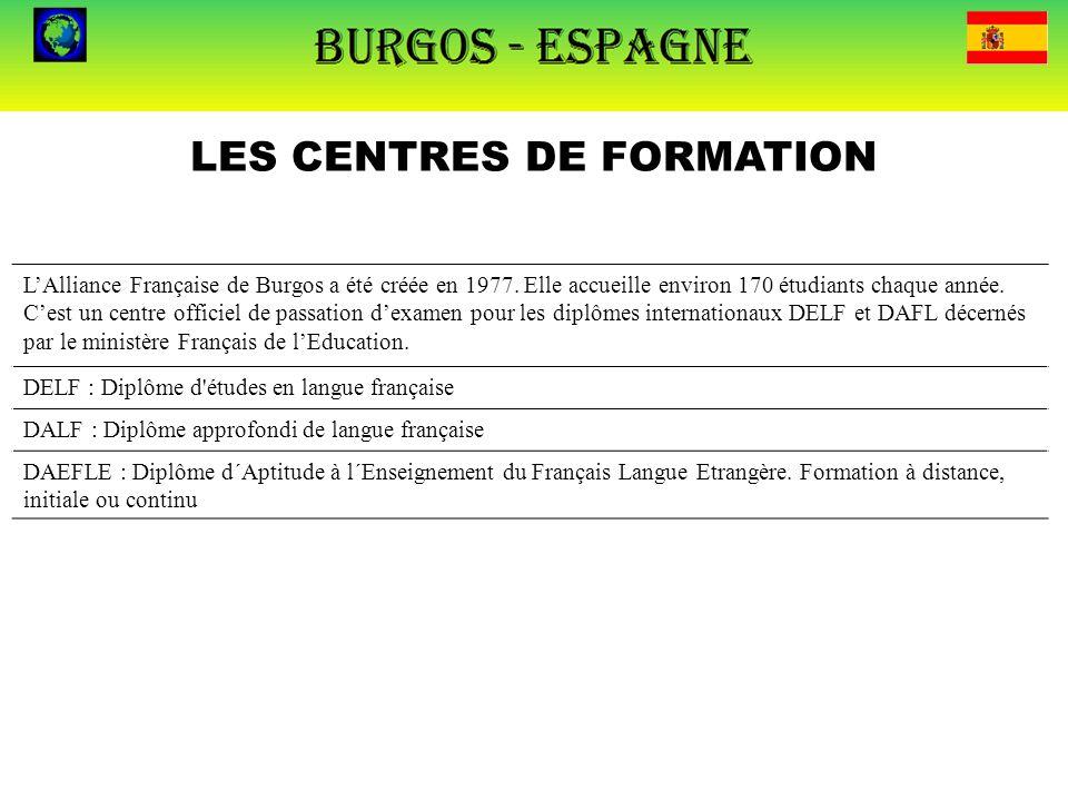 LES CENTRES DE FORMATION L'Alliance Française de Burgos a été créée en 1977. Elle accueille environ 170 étudiants chaque année. C'est un centre offici