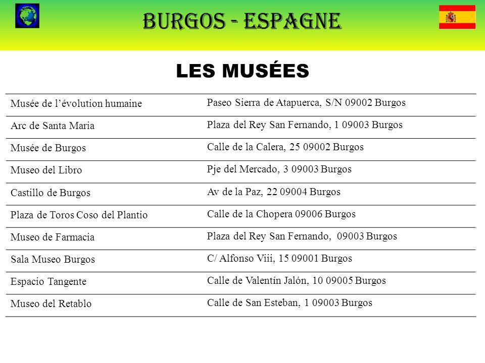 LES MUSÉES Musée de l'évolution humainePaseo Sierra de Atapuerca, S/N 09002 Burgos Arc de Santa MariaPlaza del Rey San Fernando, 1 09003 Burgos Musée