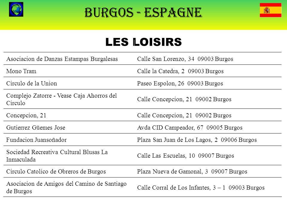 LES LOISIRS Asociacion de Danzas Estampas BurgalesasCalle San Lorenzo, 34 09003 Burgos Mono TramCalle la Catedra, 2 09003 Burgos Circulo de la UnionPa