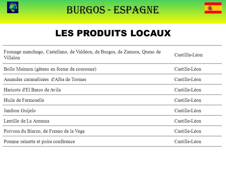 LES PRODUITS LOCAUX Fromage manchego, Castellano, de Valdéon, de Burgos, de Zamora, Queso de Villalon Castillle-Léon Bollo Maimon (gâteau en forme de
