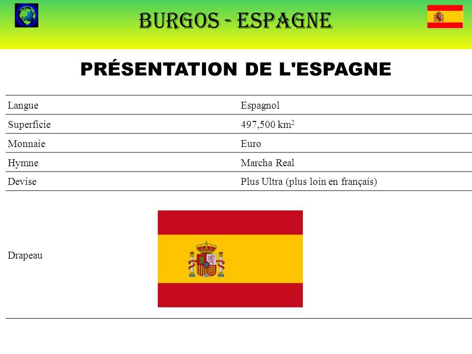 PRÉSENTATION DE L'ESPAGNE LangueEspagnol Superficie497,500 km 2 MonnaieEuro HymneMarcha Real DevisePlus Ultra (plus loin en français) Drapeau