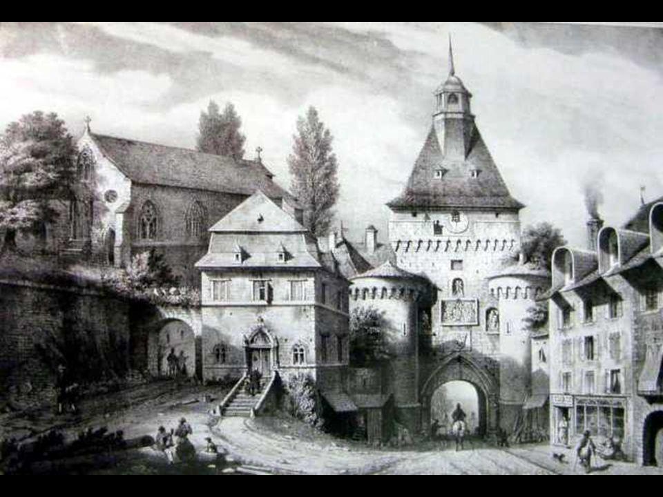 Plan de l'Abbaye de Saint Claude, la flèche indique l'emplacement de la « Porte de l'Horloge, située en haut de la rue du Marché.
