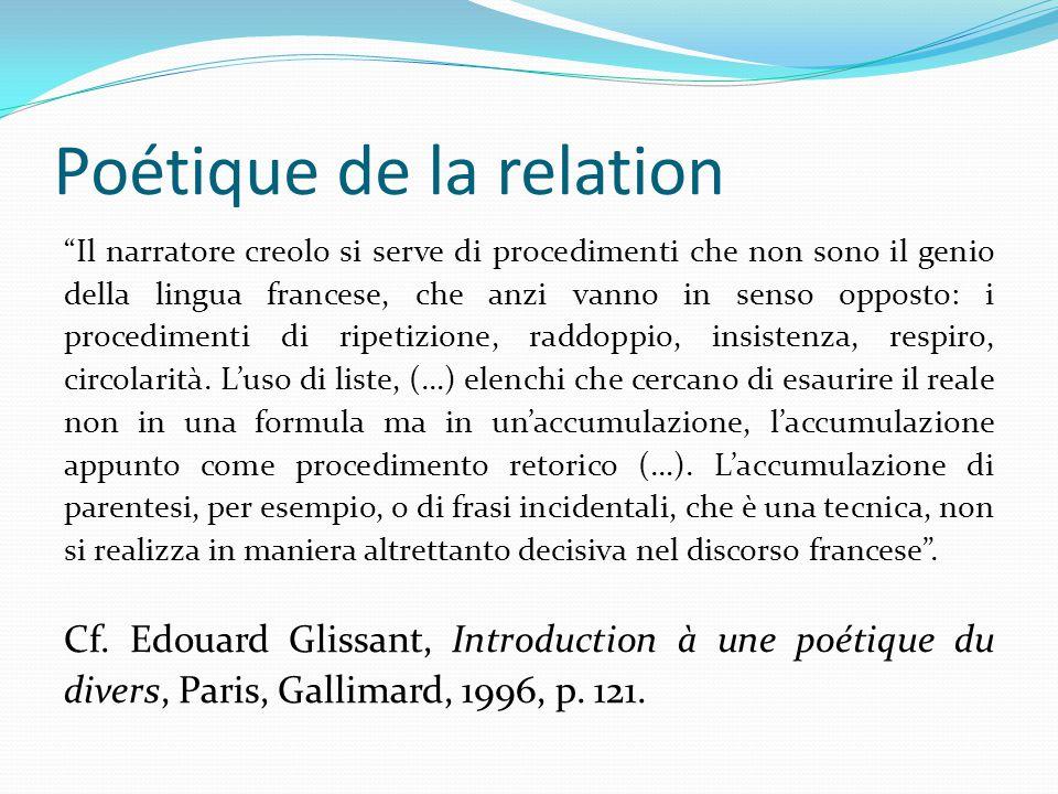 """Poétique de la relation """"Il narratore creolo si serve di procedimenti che non sono il genio della lingua francese, che anzi vanno in senso opposto: i"""