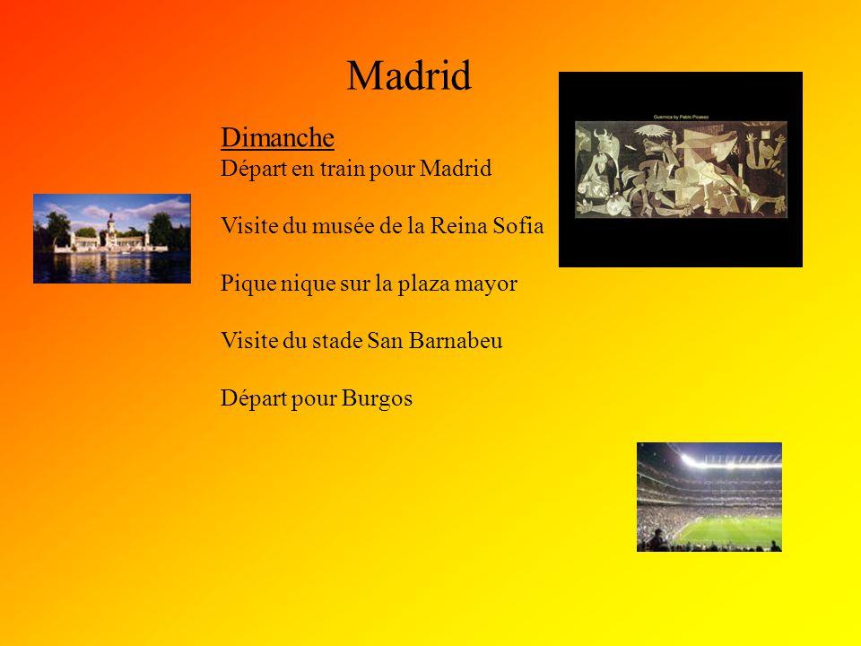 Madrid Dimanche Départ en train pour Madrid Visite du musée de la Reina Sofia Pique nique sur la plaza mayor Visite du stade San Barnabeu Départ pour