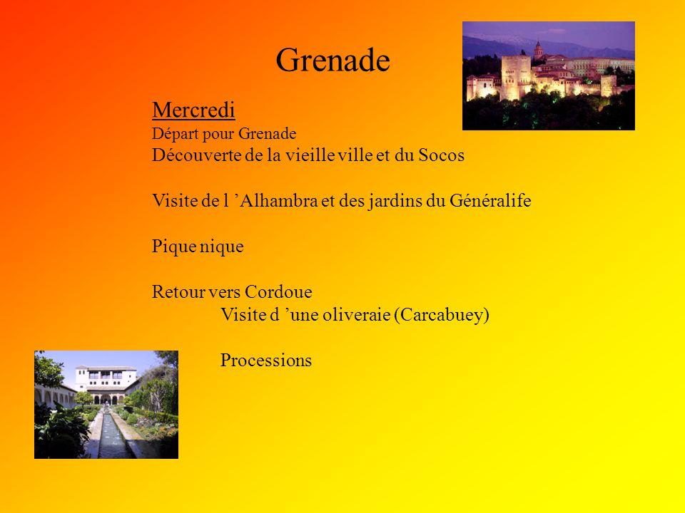Grenade Mercredi Départ pour Grenade Découverte de la vieille ville et du Socos Visite de l 'Alhambra et des jardins du Généralife Pique nique Retour