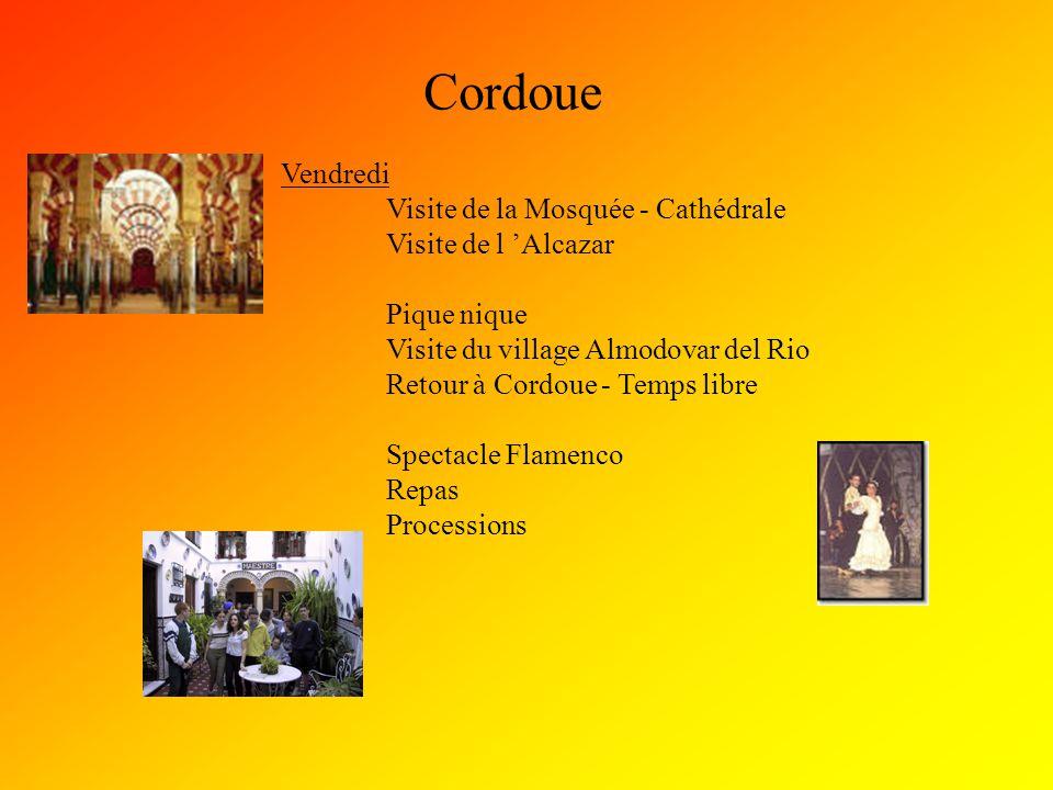 Cordoue Vendredi Visite de la Mosquée - Cathédrale Visite de l 'Alcazar Pique nique Visite du village Almodovar del Rio Retour à Cordoue - Temps libre