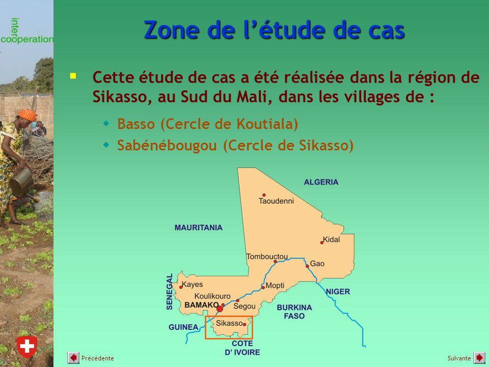 Zone de l'étude de cas  Cette étude de cas a été réalisée dans la région de Sikasso, au Sud du Mali, dans les villages de :  Basso (Cercle de Koutiala)  Sabénébougou (Cercle de Sikasso) SuivantePrécédente