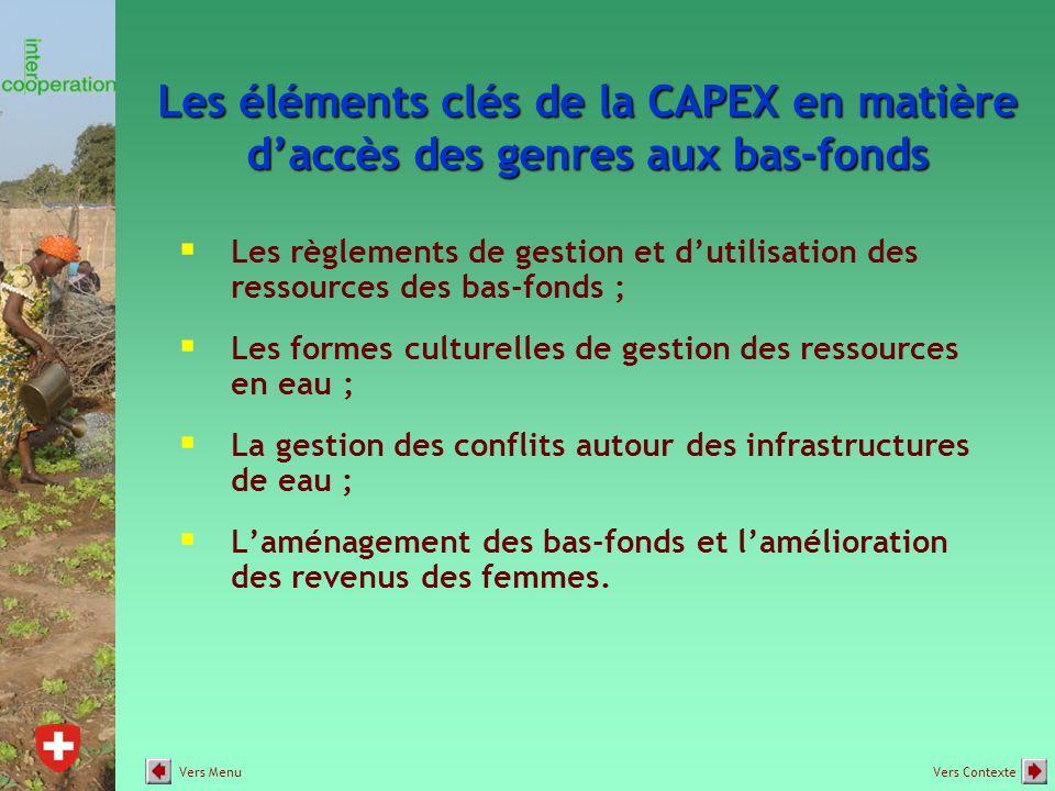Les éléments clés de la CAPEX en matière d'accès des genres aux bas-fonds  Les règlements de gestion et d'utilisation des ressources des bas-fonds ;  Les formes culturelles de gestion des ressources en eau ;  La gestion des conflits autour des infrastructures de eau ;  L'aménagement des bas-fonds et l'amélioration des revenus des femmes.