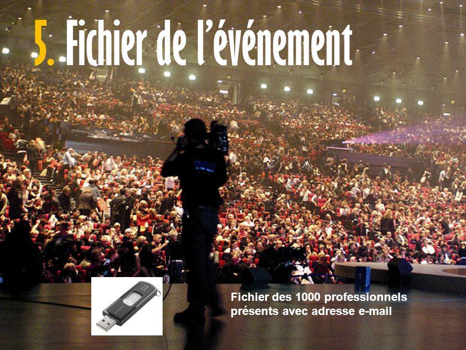 5. Fichier de l'événement Fichier des 1000 professionnels présents avec adresse e-mail