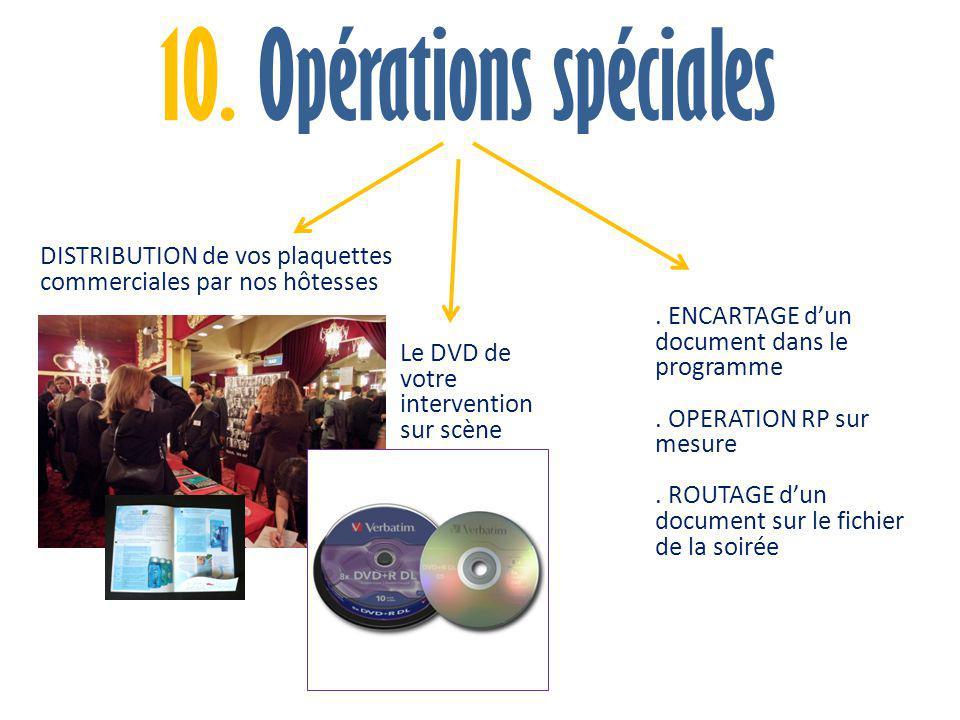 10. Opérations spéciales DISTRIBUTION de vos plaquettes commerciales par nos hôtesses Le DVD de votre intervention sur scène. ENCARTAGE d'un document