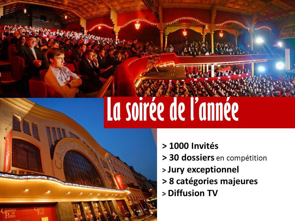 > 1000 Invités > 30 dossiers en compétition > Jury exceptionnel > 8 catégories majeures > Diffusion TV La soirée de l'année