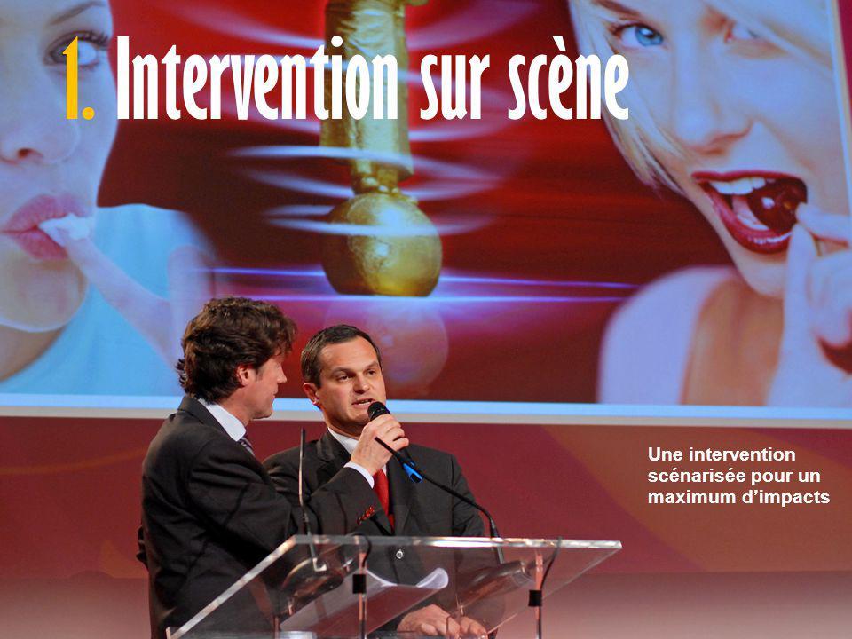 L'exposé est structuré sous forme de questions / réponses avec l'animateur 1. Intervention sur scène Une intervention scénarisée pour un maximum d'imp