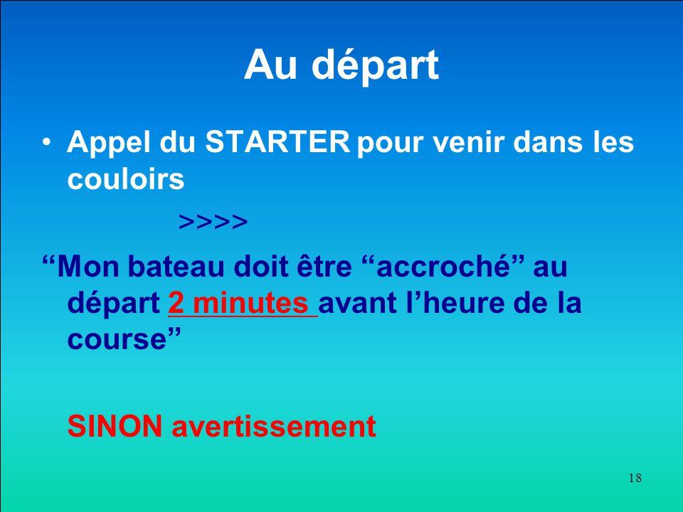 """Au départ Appel du STARTER pour venir dans les couloirs >>>> """"Mon bateau doit être """"accroché"""" au départ 2 minutes avant l'heure de la course"""" SINON av"""