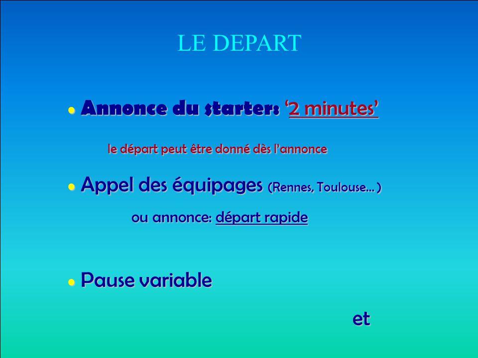 LE DEPART Annonce du starter: '2 minutes' Annonce du starter: '2 minutes' le départ peut être donné dès l'annonce Appel des équipages (Rennes, Toulous