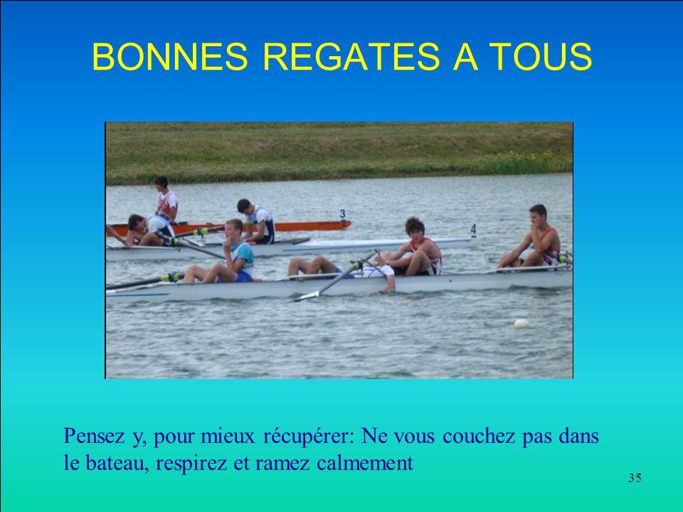 35 BONNES REGATES A TOUS Pensez y, pour mieux récupérer: Ne vous couchez pas dans le bateau, respirez et ramez calmement