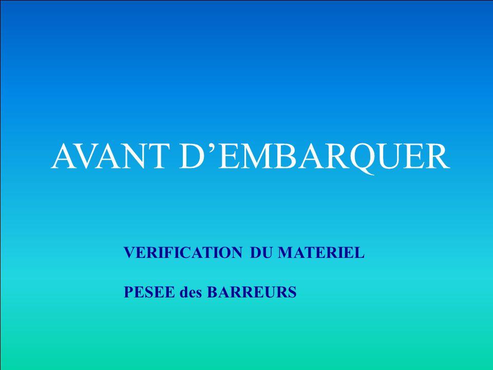 AVANT D'EMBARQUER VERIFICATION DU MATERIEL PESEE des BARREURS