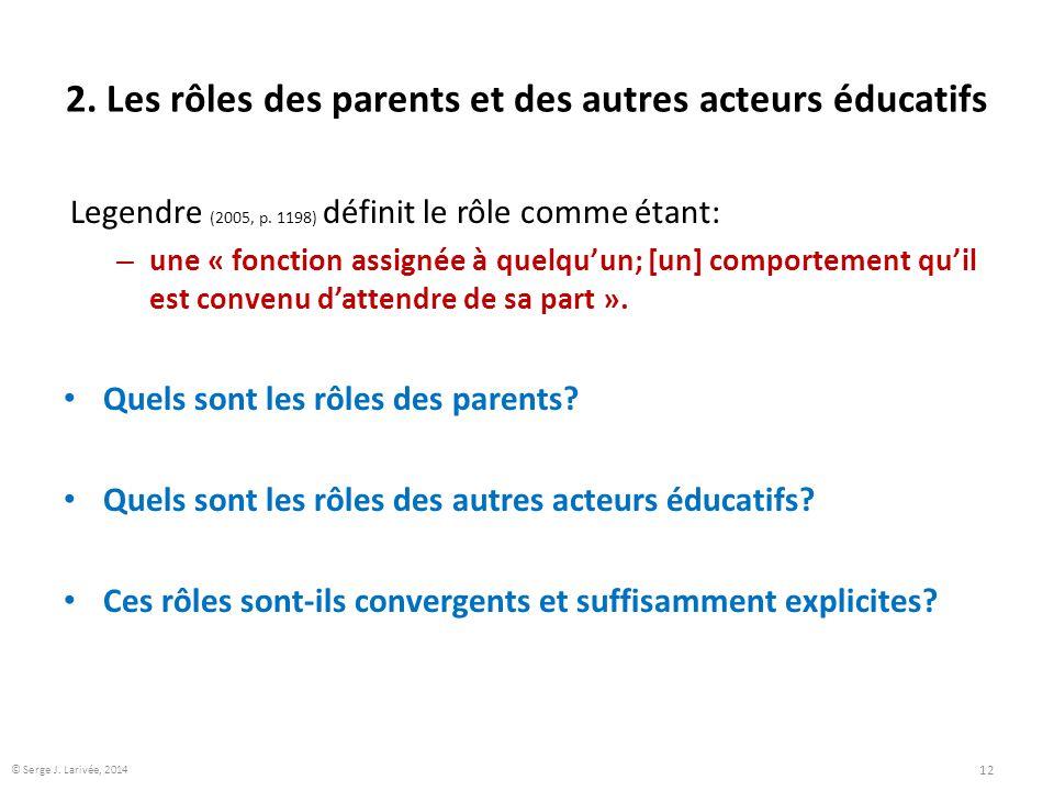 2. Les rôles des parents et des autres acteurs éducatifs Legendre (2005, p. 1198) définit le rôle comme étant: – une « fonction assignée à quelqu'un;