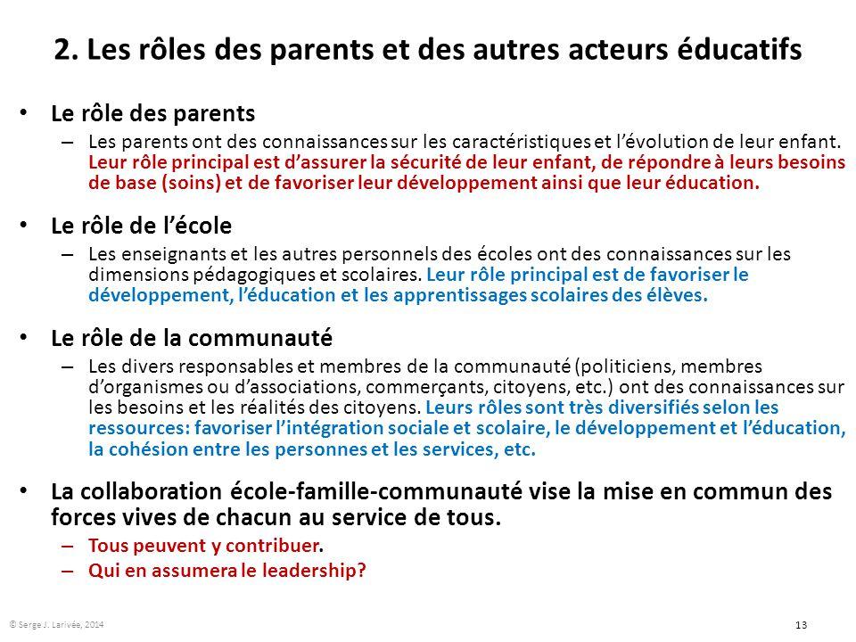 2. Les rôles des parents et des autres acteurs éducatifs Le rôle des parents – Les parents ont des connaissances sur les caractéristiques et l'évoluti