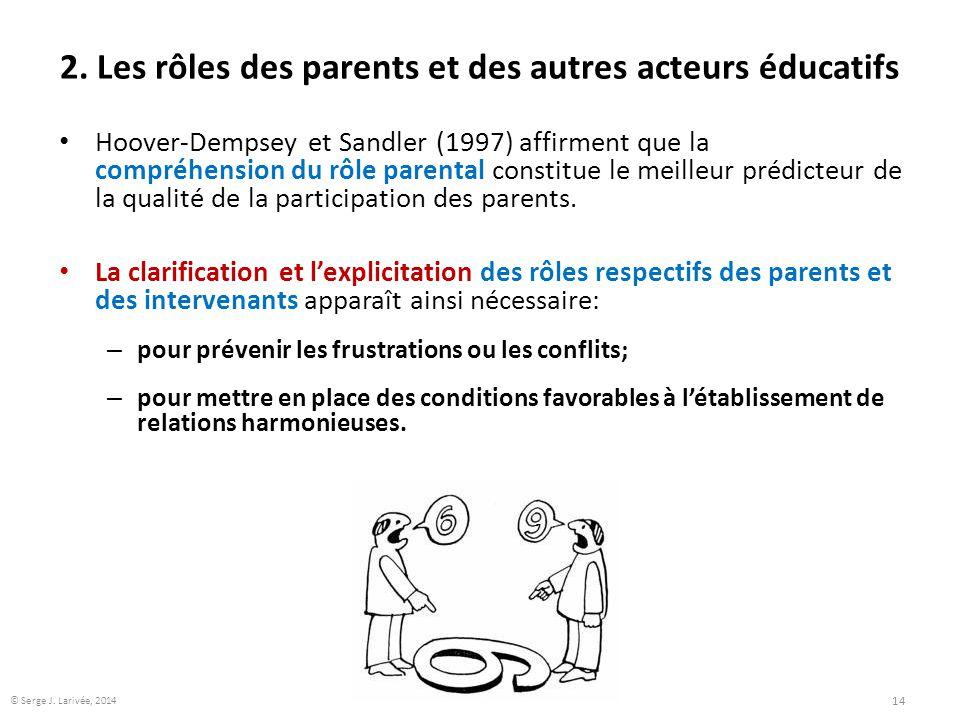 2. Les rôles des parents et des autres acteurs éducatifs Hoover-Dempsey et Sandler (1997) affirment que la compréhension du rôle parental constitue le