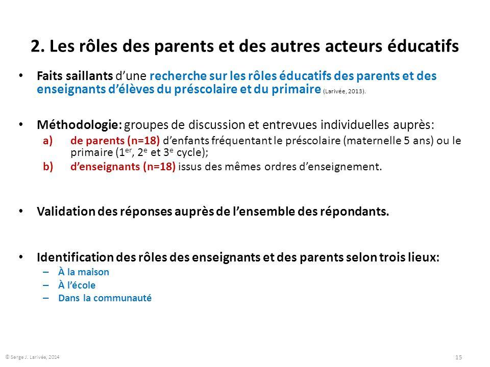 2. Les rôles des parents et des autres acteurs éducatifs Faits saillants d'une recherche sur les rôles éducatifs des parents et des enseignants d'élèv