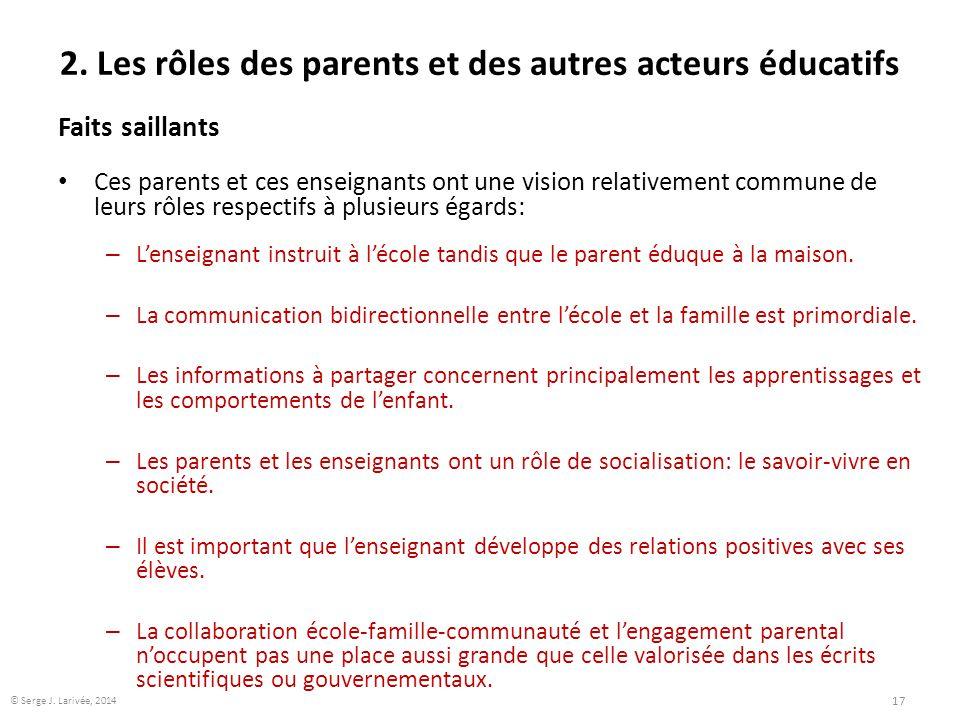 2. Les rôles des parents et des autres acteurs éducatifs Faits saillants Ces parents et ces enseignants ont une vision relativement commune de leurs r