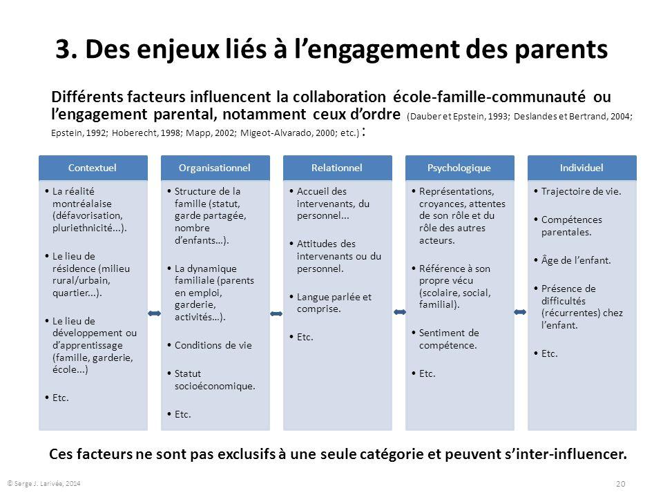 3. Des enjeux liés à l'engagement des parents Contextuel La réalité montréalaise (défavorisation, pluriethnicité...). Le lieu de résidence (milieu rur