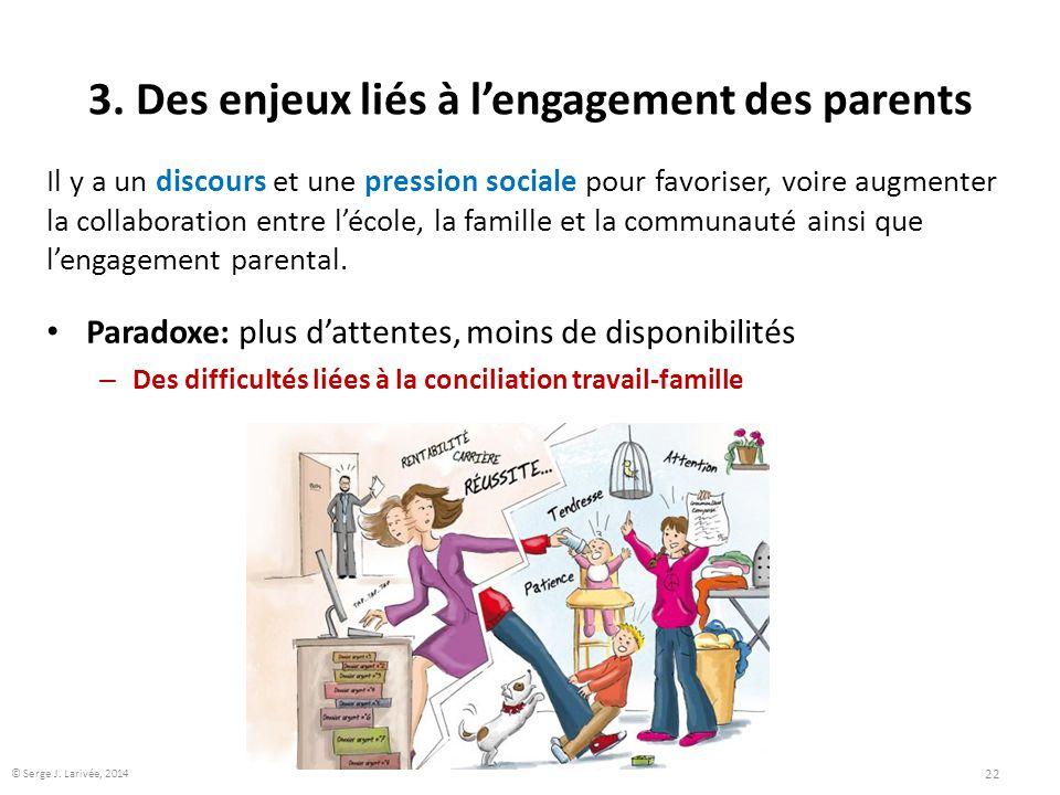 3. Des enjeux liés à l'engagement des parents Il y a un discours et une pression sociale pour favoriser, voire augmenter la collaboration entre l'écol