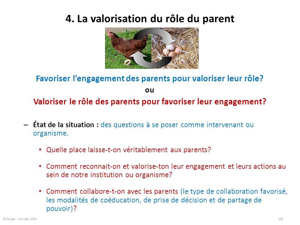 4. La valorisation du rôle du parent Favoriser l'engagement des parents pour valoriser leur rôle? ou Valoriser le rôle des parents pour favoriser leur