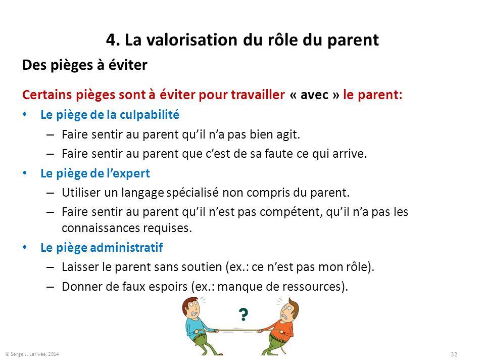 4. La valorisation du rôle du parent Des pièges à éviter Certains pièges sont à éviter pour travailler « avec » le parent: Le piège de la culpabilité