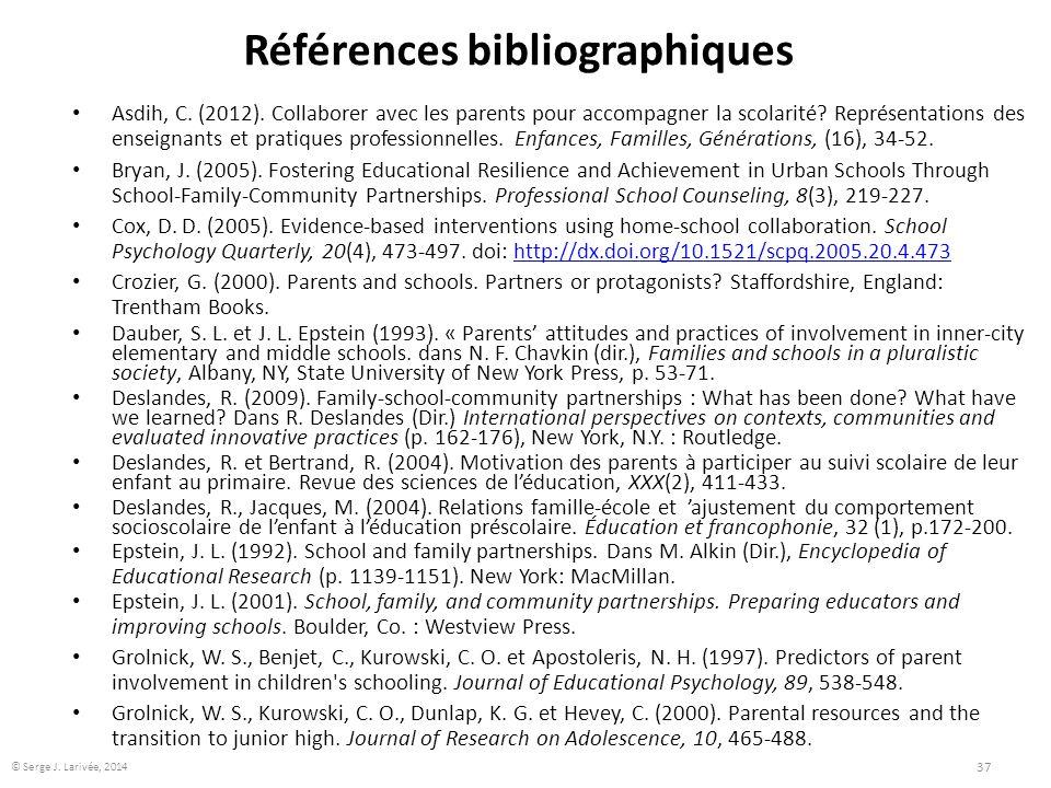 Références bibliographiques Asdih, C. (2012). Collaborer avec les parents pour accompagner la scolarité? Représentations des enseignants et pratiques