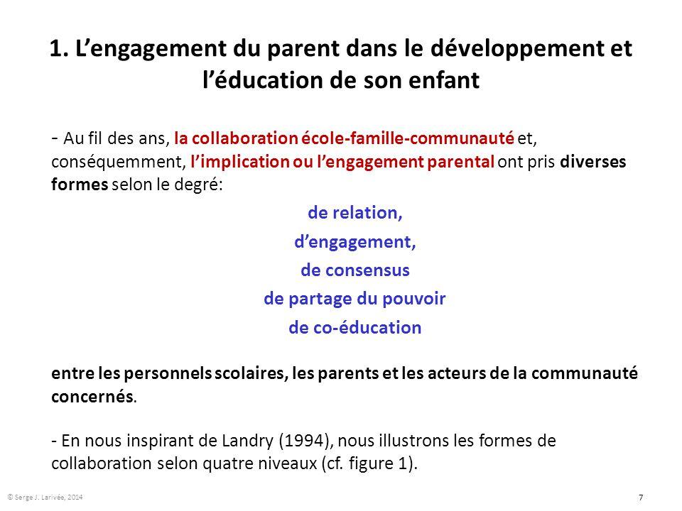1. L'engagement du parent dans le développement et l'éducation de son enfant - Au fil des ans, la collaboration école-famille-communauté et, conséquem