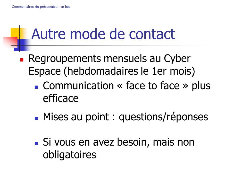 Commentaires du présentateur en bas Autre mode de contact Regroupements mensuels au Cyber Espace (hebdomadaires le 1er mois) Communication « face to f