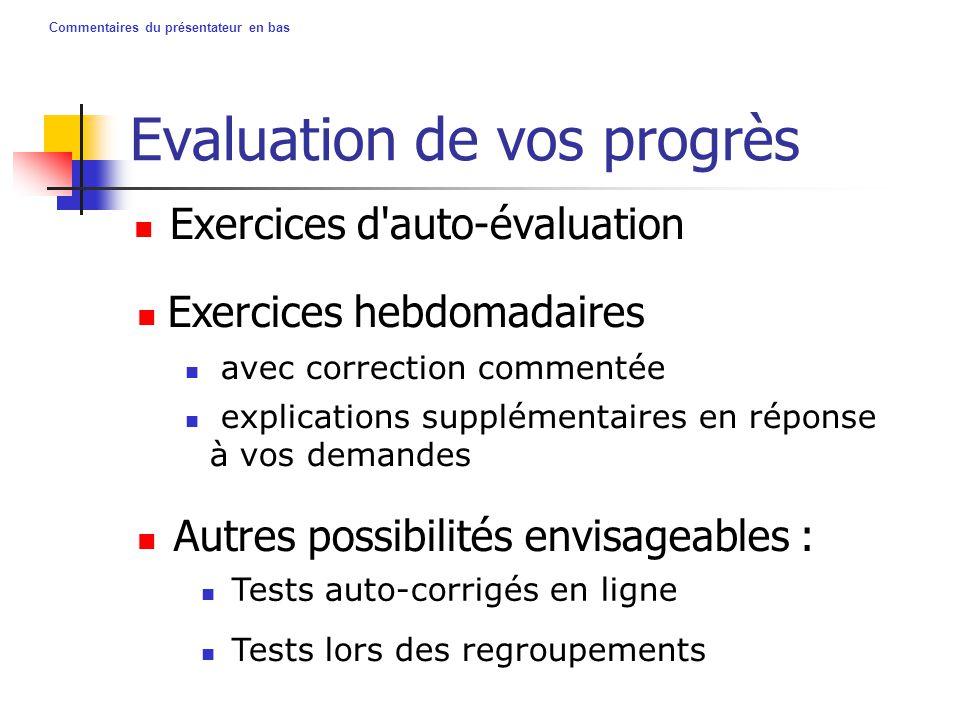 Commentaires du présentateur en bas Evaluation de vos progrès Exercices d'auto-évaluation Autres possibilités envisageables : Exercices hebdomadaires