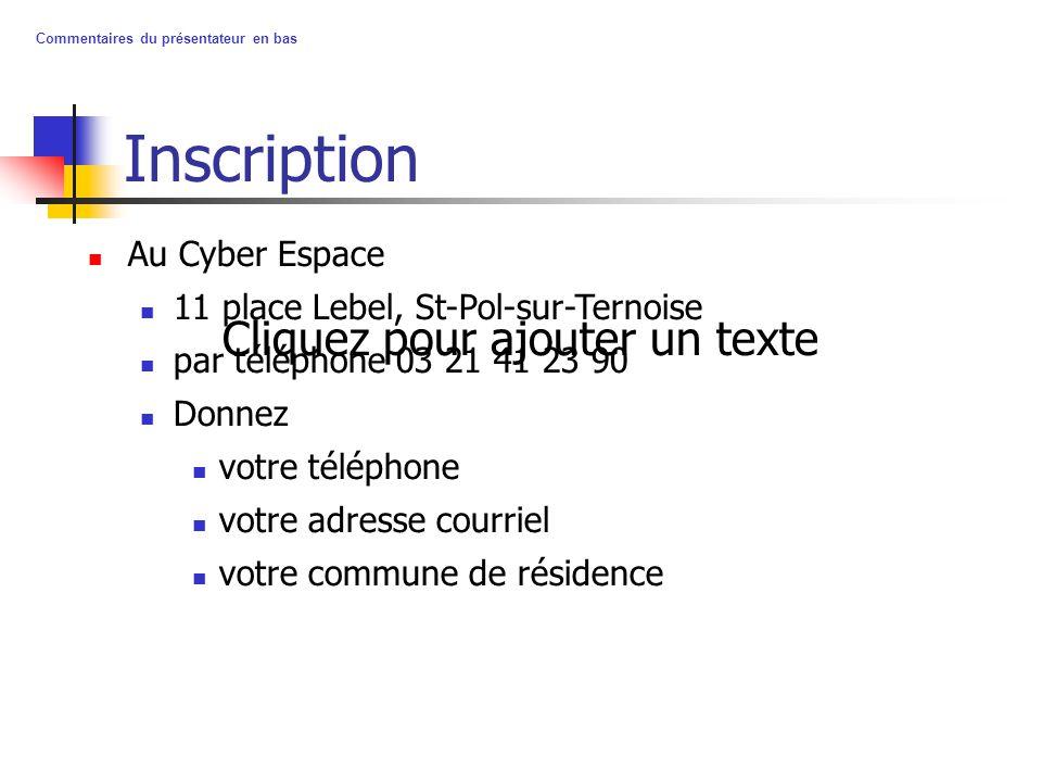 Cliquez pour ajouter un texte Commentaires du présentateur en bas Inscription Au Cyber Espace 11 place Lebel, St-Pol-sur-Ternoise par téléphone 03 21