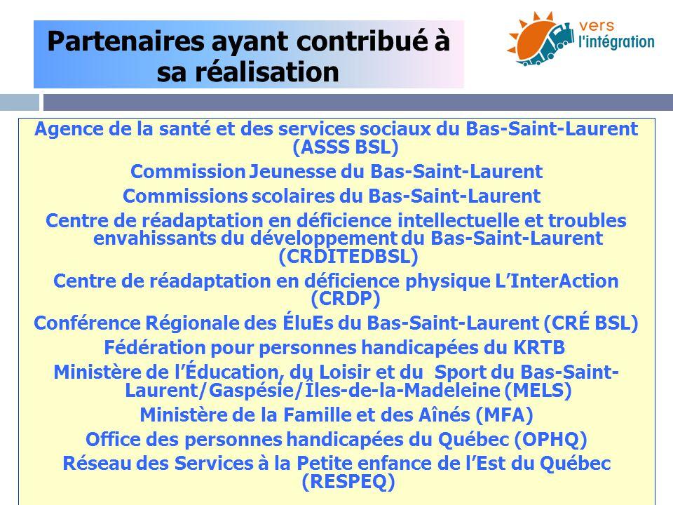 Agence de la santé et des services sociaux du Bas-Saint-Laurent (ASSS BSL) Commission Jeunesse du Bas-Saint-Laurent Commissions scolaires du Bas-Saint