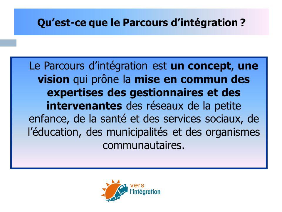Qu'est-ce que le Parcours d'intégration ? Le Parcours d'intégration est un concept, une vision qui prône la mise en commun des expertises des gestionn