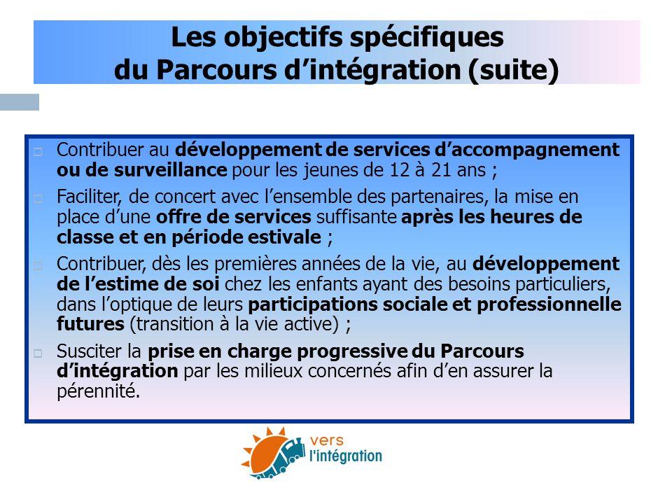 Les objectifs spécifiques du Parcours d'intégration (suite)  Contribuer au développement de services d'accompagnement ou de surveillance pour les jeu