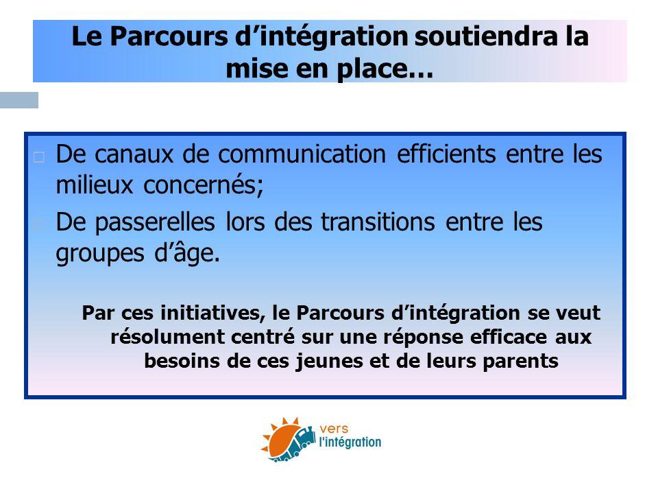 Le Parcours d'intégration soutiendra la mise en place…  De canaux de communication efficients entre les milieux concernés;  De passerelles lors des
