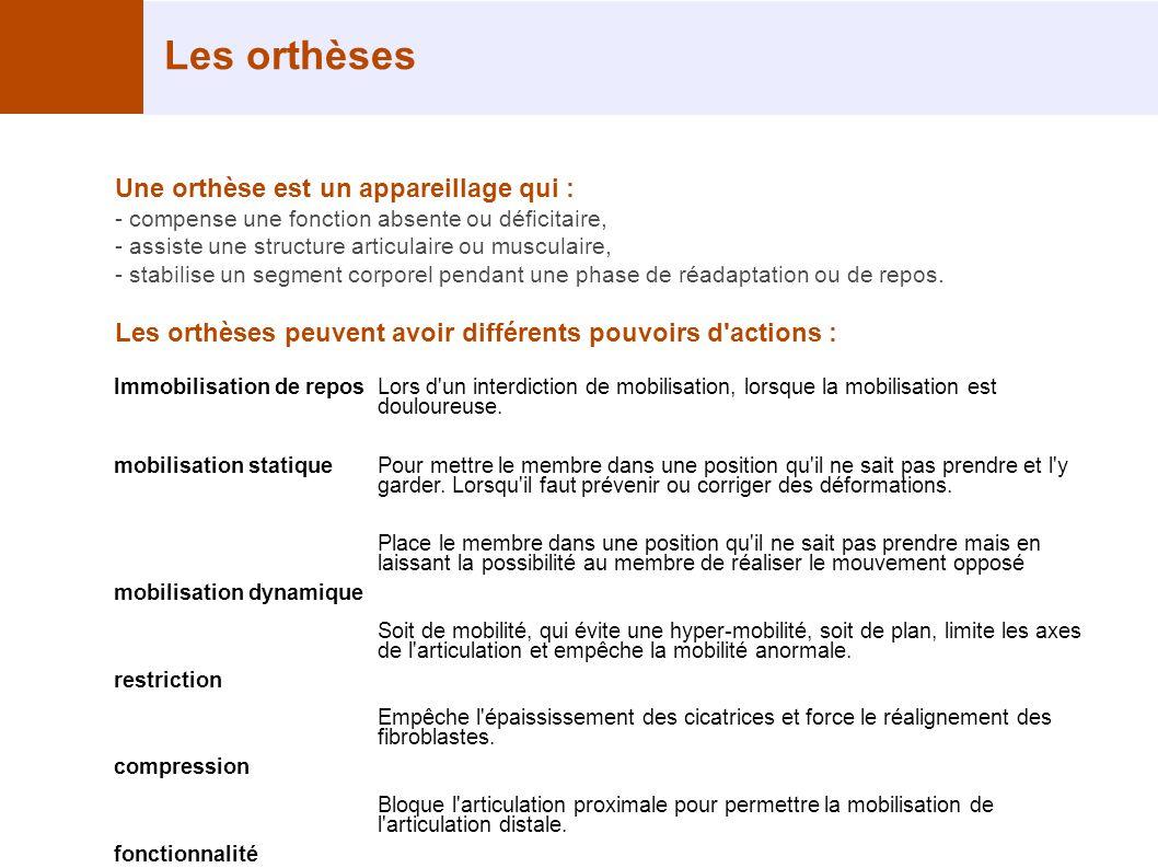 Les orthèses Une orthèse est un appareillage qui : - compense une fonction absente ou déficitaire, - assiste une structure articulaire ou musculaire,