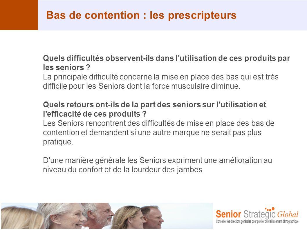 Bas de contention : les prescripteurs Quels difficultés observent-ils dans l'utilisation de ces produits par les seniors ? La principale difficulté co