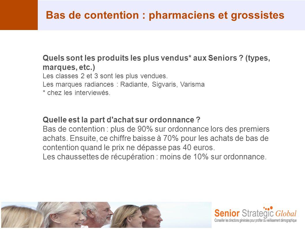 Bas de contention : pharmaciens et grossistes Quels sont les produits les plus vendus* aux Seniors ? (types, marques, etc.) Les classes 2 et 3 sont le