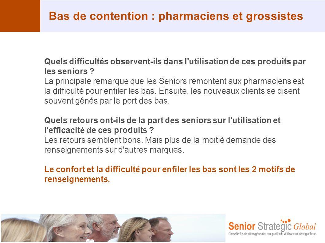Bas de contention : pharmaciens et grossistes Quels difficultés observent-ils dans l'utilisation de ces produits par les seniors ? La principale remar