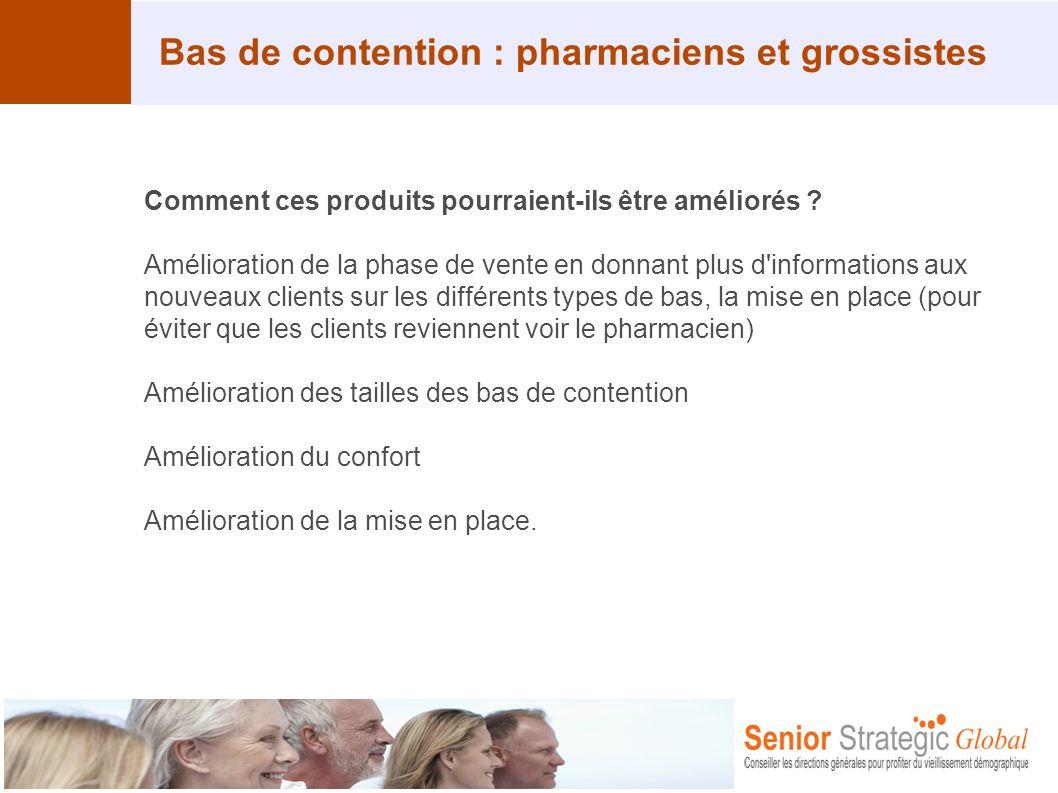 Bas de contention : pharmaciens et grossistes Comment ces produits pourraient-ils être améliorés ? Amélioration de la phase de vente en donnant plus d