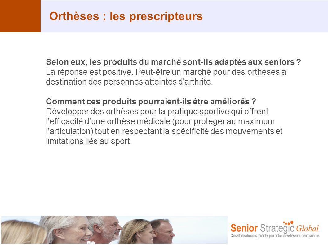 Orthèses : les prescripteurs Selon eux, les produits du marché sont-ils adaptés aux seniors ? La réponse est positive. Peut-être un marché pour des or