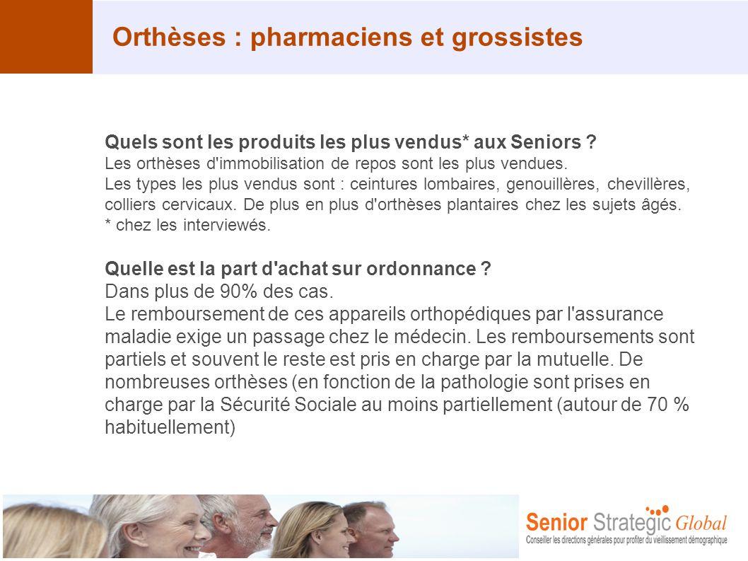 Orthèses : pharmaciens et grossistes Quels sont les produits les plus vendus* aux Seniors ? Les orthèses d'immobilisation de repos sont les plus vendu