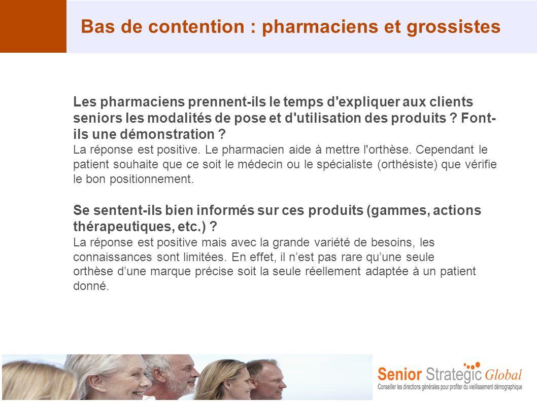 Bas de contention : pharmaciens et grossistes Les pharmaciens prennent-ils le temps d'expliquer aux clients seniors les modalités de pose et d'utilisa