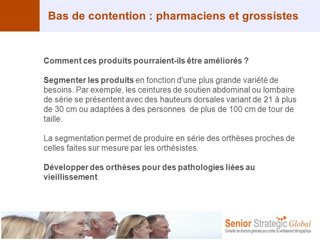 Bas de contention : pharmaciens et grossistes Comment ces produits pourraient-ils être améliorés ? Segmenter les produits en fonction d'une plus grand