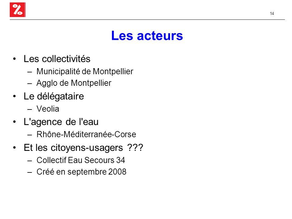 14 Les acteurs Les collectivités –Municipalité de Montpellier –Agglo de Montpellier Le délégataire –Veolia L agence de l eau –Rhône-Méditerranée-Corse Et les citoyens-usagers .